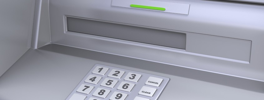 Close up of an ATM machine. Keyboard detail. Clipping path included for easily isolate keys, screen, slot etc...