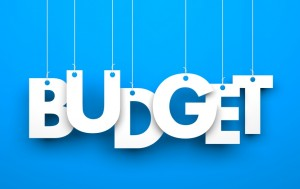 Budget. Word on strings. Conceptual 3d image