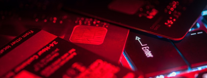 Credit Cards Red On Keyboard