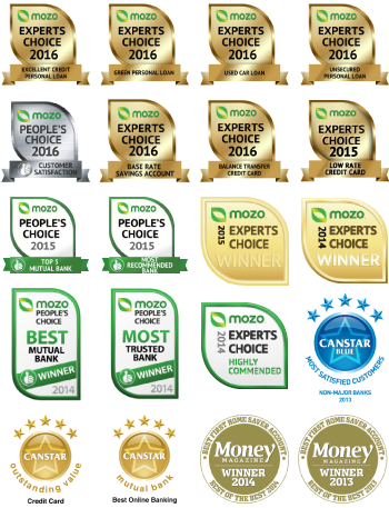 Mozo Gold Credit Card Award 2015, Mozo Peoples Choice Awards 2015 Award, Mozo Peoples Choice Awards 2014, 2015 Mozo Experts Choice Winner Award 2014 & 2015, Canstar Awards
